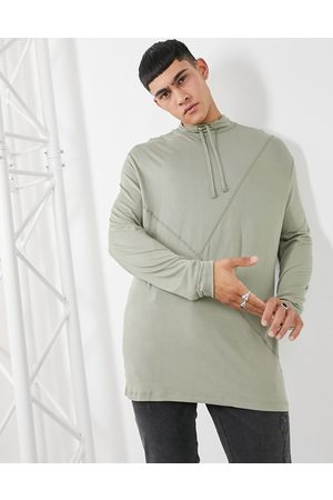 ASOS Long sleeve relaxed fit high neck top in washed khaki-Green