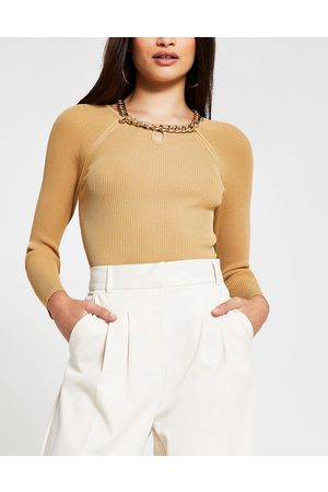 River Island Chain choker ribbed long sleeve top in camel-Brown