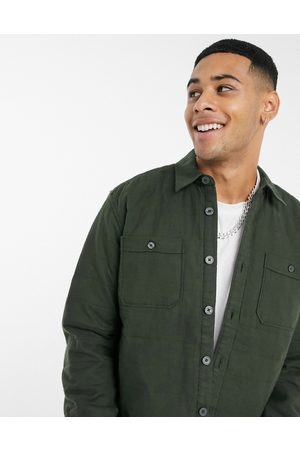 Only & Sons Quilted overshirt in khaki-Green