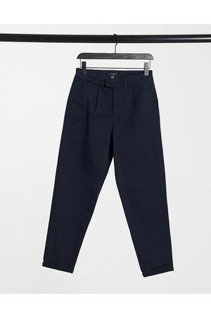 New Look Tapered chino trousers with pleat detail in navy