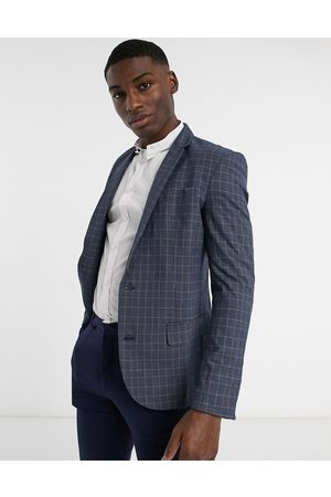 New Look Skinny check suit jacket in blue