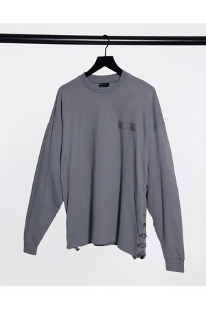 ASOS Long sleeve oversized t-shirt with bungee cord side seam in grey