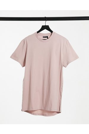 ASOS Longline t-shirt with side splits in lilac-Purple