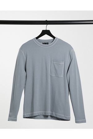 ASOS Relaxed fit long sleeve t-shirt with sticthing detail and pocket in grey
