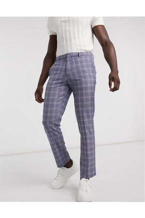 River Island Muži Chino - Slim smart trousers in navy check