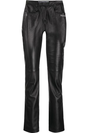 OFF-WHITE Polished-finish trousers
