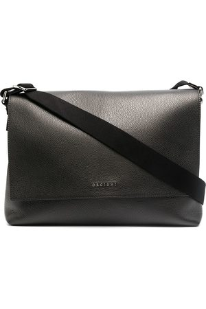 Orciani Fold-over leather laptop bag