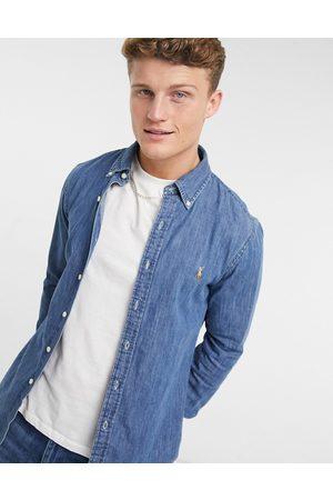 Polo Ralph Lauren Muži Džínové košile - Slim fit denim shirt in mid wash blue