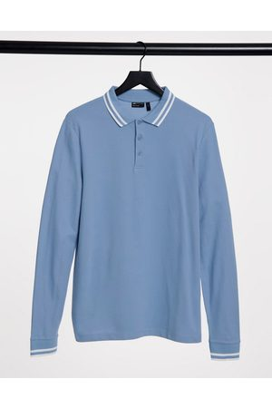 ASOS Tipped pique long sleeve polo in blue