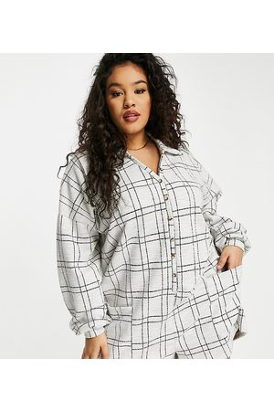 ASOS ASOS DESIGN curve chuck on button front playsuit in check-Multi