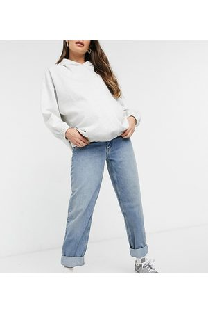 ASOS ASOS DESIGN Maternity high rise 'slouchy' mom jeans in authentic midwash with elasticated side waistband-Blue