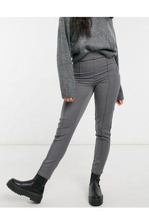 Vero Moda Skinny trousers with seam detail in dark grey