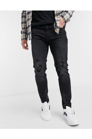 Pull&Bear Muži Skinny - Super skinny jean with knee rips in black