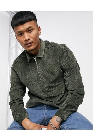 ASOS Overhead cord overshirt in green-Grey