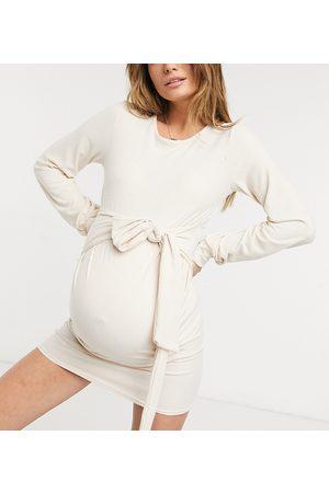 In The Style Maternity Ženy Podvazovací šátky - X Dani Dyer sweat dress with belt detail in stone-Beige