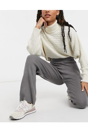 New Look Ženy Široké nohavice - Co-ord knitted wide leg trouser in mid grey