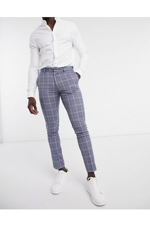 New Look Skinny check suit trouser in blue