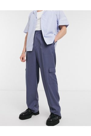 ASOS Wide leg smart trousers in navy pinstripe and cargo pockets