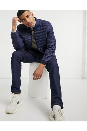 ASOS Quilted jacket with stand collar in navy