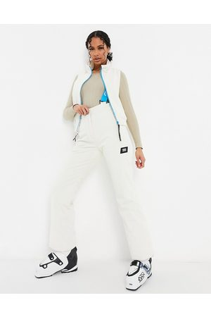 ASOS Ski mid layer reversable gilet in cord and high shine-Cream
