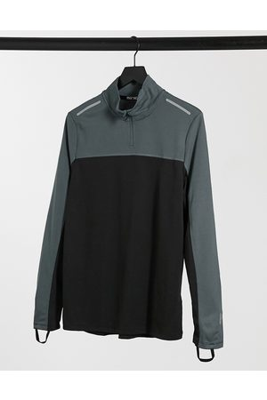 ASOS Running long sleeve t-shirt with contrast panels and 1/4 zip-Black