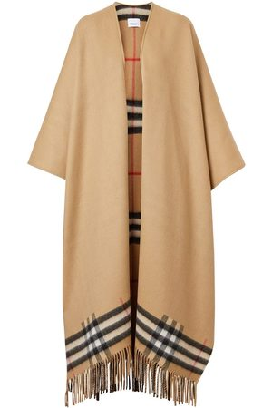 Burberry Fringed check cape