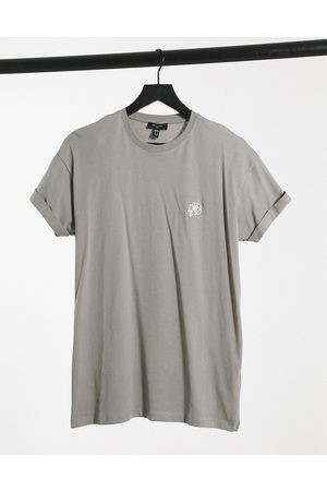 New Look Sketch rose embroidered t-shirt in light grey
