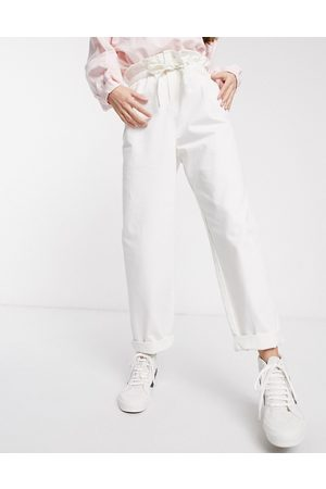 ASOS Lightweight tapered jeans with tie front in off white