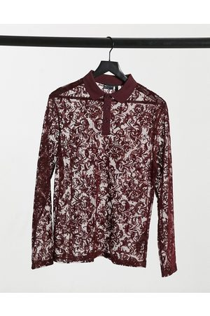 ASOS Muscle long sleeve polo in burgundy burnout mesh-Red