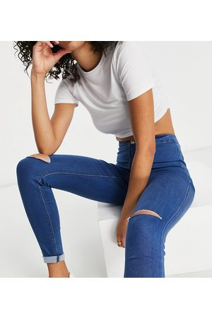 Missguided Vice jean with distressed knee in blue