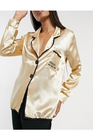 Outrageous Fortune Satin nightwear top in cream