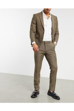 Shelby & Sons Slim suit trousers in light brown twill