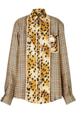 Burberry Spotted monkey print panel check oversized shirt
