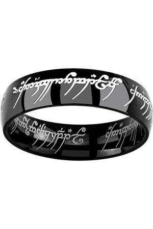 Silvego Muži Prstýnky - Černý ocelový prsten moci z filmu Pán prstenů RRC5623 52 mm