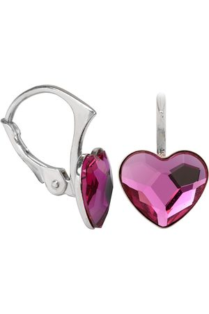 Troli Dívky Šperky - Dívčí stříbrné náušnice Heart Flat Fuchsia