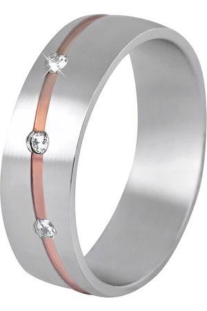 Beneto Dámský bicolor snubní prsten z oceli SPD07 49 mm