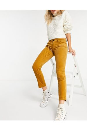JDY Ženy Úzké nohavice - Skinny cord 70s style trouser in golden brown
