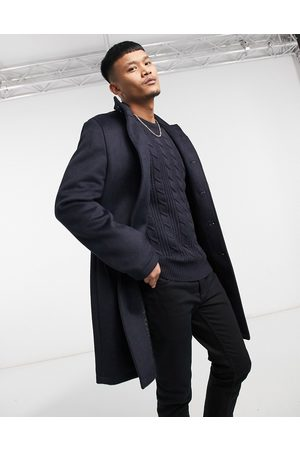 ASOS Wool mix overcoat with funnel neck in navy