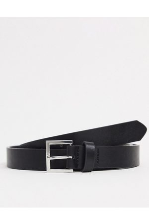ASOS DESIGN Skinny belt in black faux leather with silver buckle