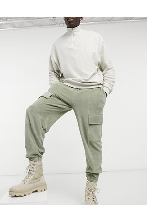 ASOS Muži Tepláky - Co-ord oversized joggers in towelling with cargo pockets-Green