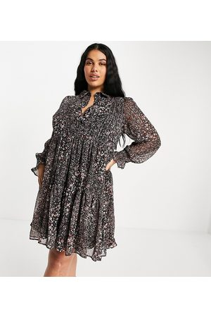 Yours Mini dress in rust floral print-Brown