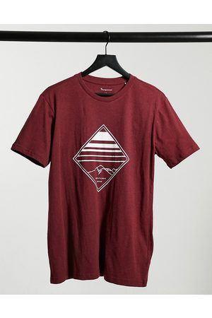 Knowledge Cotton Apparal Muži S krátkým rukávem - Organic cotton diamond logo t-shirt in burgundy-Red