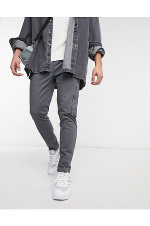 ASOS Slim trousers with MA1 pocket in charcoal-Grey