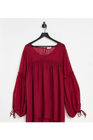 Yours Smock blouse with pleat detail in berry-Red