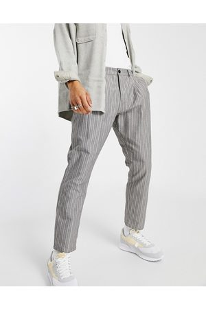 ASOS Cigarette fit trousers in textured stripe-Grey