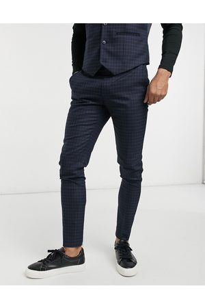 ASOS Skinny suit trousers with micro check in navy and green