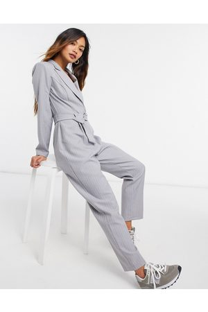 ASOS Soft tux jumpsuit with belt in grey stripe-Green