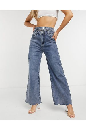 The Kript Wide leg jeans with double waist band in vintage wash-Blue