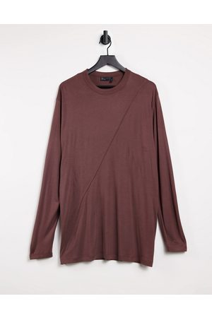 ASOS Oversized viscose long sleeve t-shirt with seam detail in brown