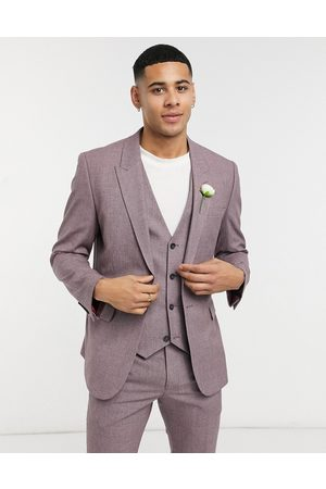 ASOS Wedding skinny suit jacket in wine crosshatch-Purple